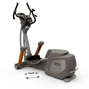 Yowza Fitness Islamadora Elliptical showing the 2 hand grips, the console as centerpiece and oversized pedal to make feet comfortable