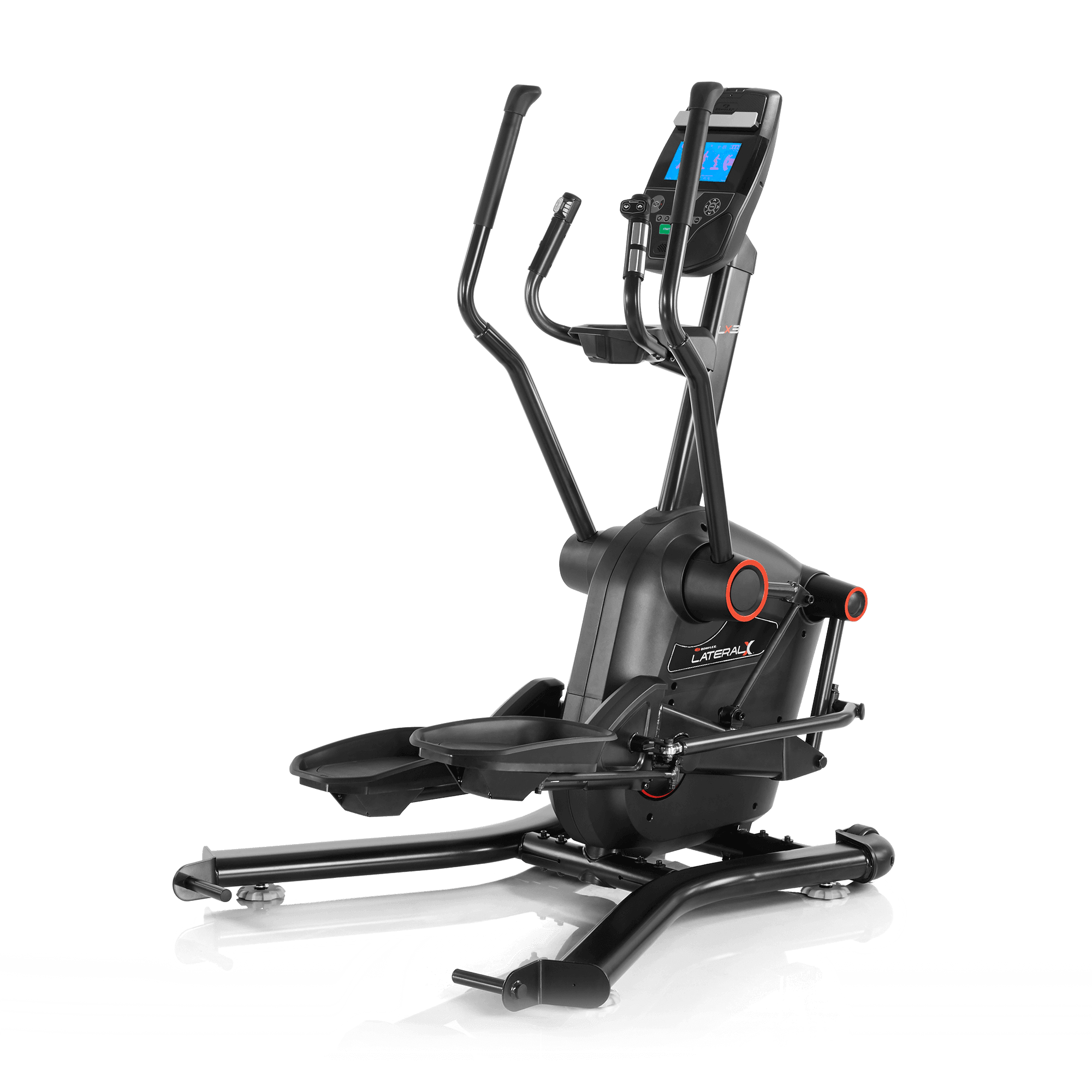 Bowflex Lateral X has a full black metal and hard plastic frame. It has 2 sets of hand grips and an LCD display for the centerpiece.