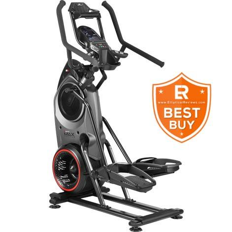 A Bowflex Max Trainer with a black and gray body frame standing on a white background witha Eliptical Reviews logo on the side.